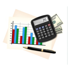 Business concept with finance graphs electronic vector