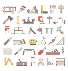 Flat icons traditional woodworking vector