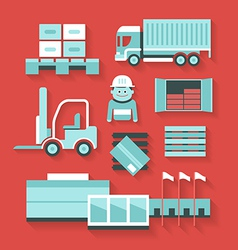 Flat icons of distribution and logistics vector