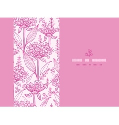 Pink lillies lineart horizontal seamless pattern vector