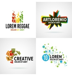 Set of modern colorful abstract logo emblem vector