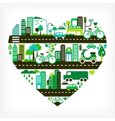 Heart shape with green city vector
