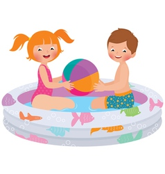 Children playing in inflatable pool vector