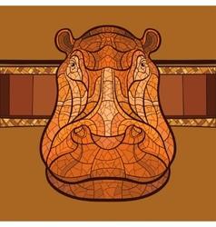 Hippo head with ethnic ornament vector