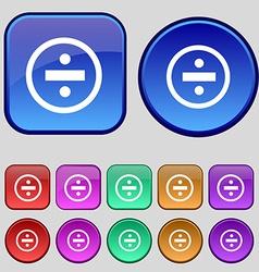 Dividing icon sign a set of twelve vintage buttons vector