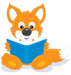 Fox cub reading a book vector