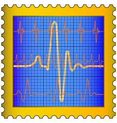 Cardiogram on stamp vector