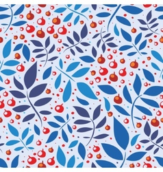 Seamless pattern with leaves and berries vector
