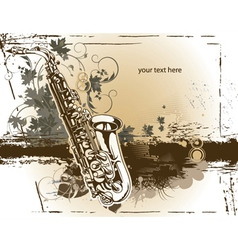 Saxophone with floral vector