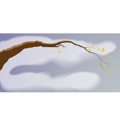 A tree branch with leaves vector