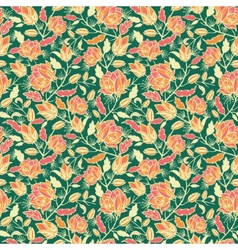 Magical flowers and leaves seamless pattern vector