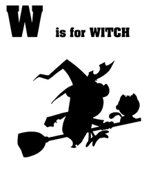 Witch cartoon silhouette vector