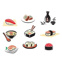 Set of japanese seafood icons vector