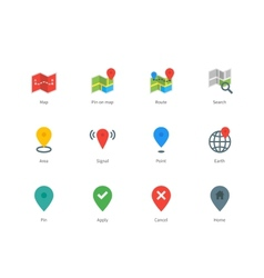 Map gps and navigation color icons on white vector