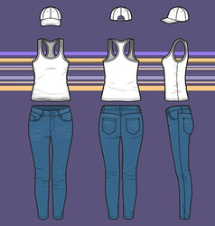 Racer top cap and jeans set vector