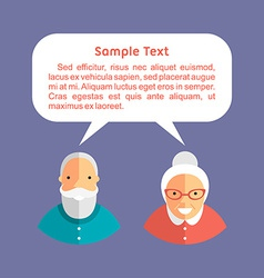 Grandfather and grandmother with speech bubbles vector