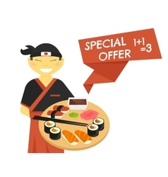 Sushi chef with special offer banner vector