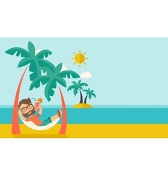 Young man on th beach relaxing and drinking vector