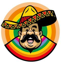 Cartoon of smiling mexican man with sombrero vector