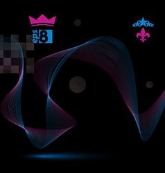 Dimensional motif elegant flowing curves dark vector