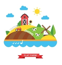 Farm countryside background vector