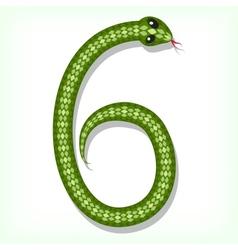 Snake font digit 6 vector