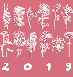 Calendar cover 2015 flowers vector