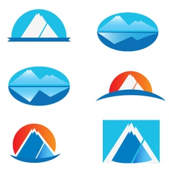 Set of mountains logo vector