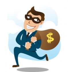 Man wearing suit stealing money vector