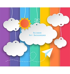 Clouds and rainbow sky background vector