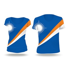 Flag shirt design of marshall islands vector