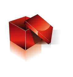 3d open red shipping box vector
