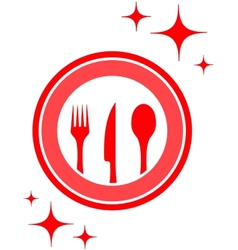 Restaurant icon with kitchen ware vector