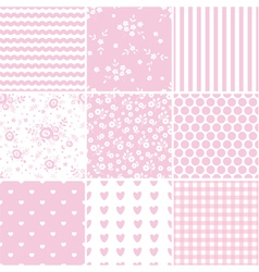 Set of abstract pink seamless patterns vector