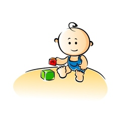 Cute cartoon baby playing with building blocks vector