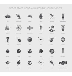 Set of space icons pictograms and infographics vector