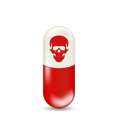 Red capsule with skull isolated on white vector