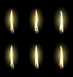 Set of realistic flames vector