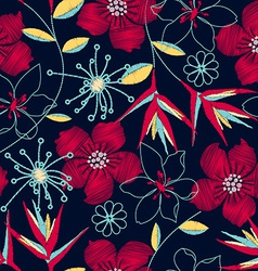 Hibiscus tropical woven embroidery seamless vector