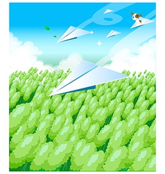 Paper airplanes over field vector