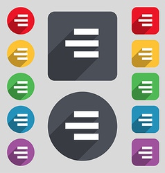 Right-aligned icon sign a set of 12 colored vector