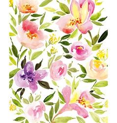 Watercolor flower wreath vector