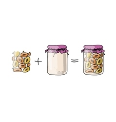 Jar with peach jam sketch for your design vector