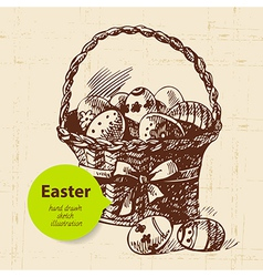 Vintage easter background with hand drawn sketch vector
