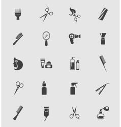 Black barber shop icons vector