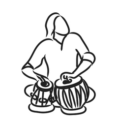 Indian musician playing tabla vector