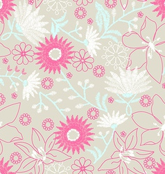 Floral embroidery design in a seamless pattern vector