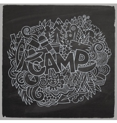Summer camp hand lettering and doodles elements vector