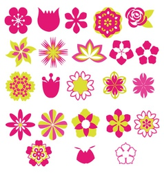 Flower symbols icon set- vector