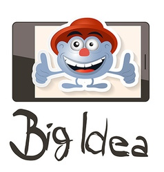 Big idea with funky man - avatar on cell pho vector